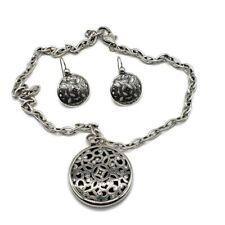 "Brighton Serendipity Medallion Scroll Necklace Pendant Chain & Earrings Set 20"""