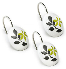 Popular Bath Mayan Leaf Sage Bath Collection - Bathroom Shower Curtain Hooks