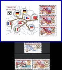 CZECHOSLOVAKIA 1984 CHEMISTRY, TRACTOR + S/S MNH SHIPS, RAIL TRANSPORT