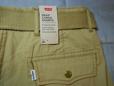 NEW LEVIS levi's size 30 SNAP CARGO SHORTS beige tan with BELT mens men's NWT