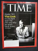 Time March 28, 2016 Apple CEO Tim Cook on his fight with the FBI and why he wo..