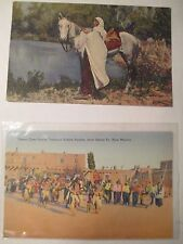 Vintage Southwest Postcards Taos Indian with Horse and Green Corn Dance Tesuque