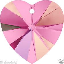 Swarovski 6228 Xilion Heart Pendant Rose AB Pack of 4