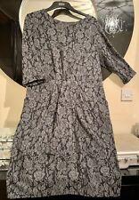 Monsoon Grey Floral Jersey Pinch Front Bodycon Dress Size 20 Shape Wear Lining