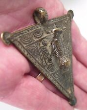 African tribal Dogon triangle with bird amulet pectoral pendant. Provenance