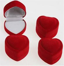 10Pcs Velvet Cover Red Heart Shaped Jewelry Box Ring Show Display Storage