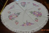 Vintage Handmade Round Embroidered cotton table topper fruit motif colorful