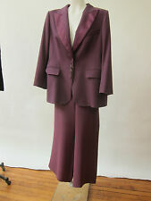 Escada Purple Wool Silk Tuxedo  Pant Suit Wide Leg Pants Flat Front 44 AS Found