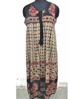 Ethnic boho dress flower print red & black long sleeveless cotton maxi dresses