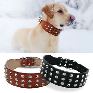 Heavy Duty Studded Genuine Leather Pet Dog Collars for Dogs S M L XL Pit Bull
