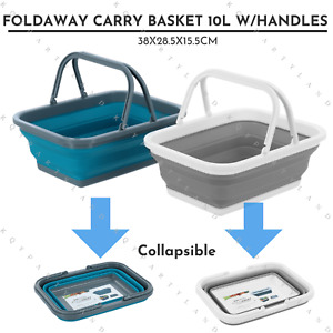 Collapsible Carry Basket 10L Handle Foldable Travel Shopping Camping Picnic Food