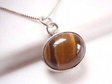 Small Tiger Eye with Beautiful Chatoyance 925 Sterling Silver Pendant