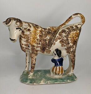 a Rare Staffordshire Creamware Cow Creamer Late 18th century Whieldon Type