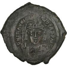 [#30978] Maurice Tiberius 582-602, Follis, Constantinople, Ef(40-45), Copper