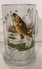 Heavy Glass Mug Stein Bass Fish Geese Wildlife Nature 14 oz