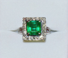 Certified Natural 5cts VS G Diamond Emerald Solid 950 Platinum Dinner Halo Ring