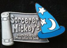 2001 WDW MICKEY SORCERER'S APPRENTICE HAT SERIES LE DISNEY PIN, PEWTER BANNER