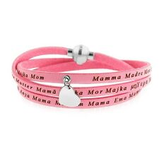 "Pink Leather ""Mom"" Wrap Bracelet with Stainless Steel Magnetic Clasp-7.5"""