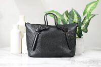 Ted Baker London Olmia Small Black Knotted Handle Leather Crossbody Tote Handbag