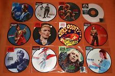 "DAVID BOWIE 12x 7"" PICTURED DISC VINYL Lot DRIVE IN SATURDAY CHANGES FAME SORROW"
