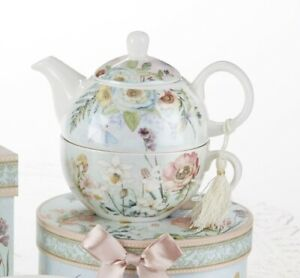 Delton Porcelain Tea for One Gift Set  Stacked Teapot & Cup  DRAGONFLY
