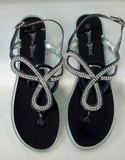 NIB Nature Breeze Sz 9 Maxi Flat Black Studded Sandals Rhinestones Silver Jelly