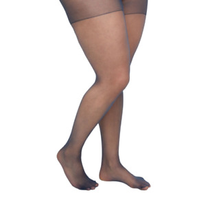 Catherines Pantyhose Day Sheer Hosiery Ribbed Panty Nylon Navy Blue Plus Size E
