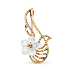 585/14 Ct Rose Gold Brooch with White Nacre Flower and Cubic Zircon