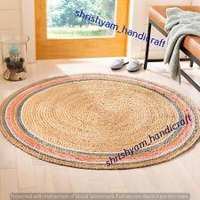 Handmade Floor Jute Carpet Hand Woven Natural Round Braided 240x240 CM Area Rugs