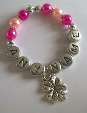 """Personalised """"4 Leaf Clover, Good Luck"""" Wine Glass Charms, Handmade for you"""