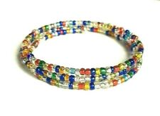 Multi Coloured Glass Seed Bead 3 Coil Memory Wire Bracelet.
