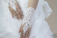 New white Style Bridal Gloves Accessory Beaded Lace Sexy fingerless gloves A2