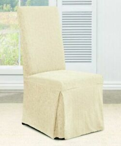Sure Fit Stretch Ava Jacquard Damask long Dining Room Chair cream vanilla