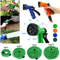 Garden Water Car Hoses Expandable Latex 25 50 75 100 FT Flexible w/ Spray Nozzle
