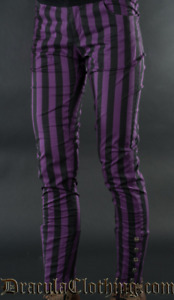 Steampunk Purple Striped Pants Dracula Clothing