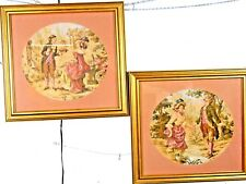 Pair of Tapestry Wall Decorations framed and matted