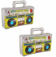 2  37cm Inflatable Boom Box Ghetto Blaster 70s 80s Fancy Dress Party Decorations