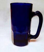 "VINTAGE COBALT BLUE RIBBED GLASS BEER MUG, 5 3/4"" TALL, HOLDS 10 OZ. AND HEAVY"