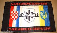 FLAG UKRAINIAN ARMY CROATIAN SOLDIERS VOLUNTEERS UNIT AZOV REGIMENT BATTALION