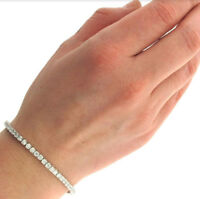 1 Row Simulated Crystal Tennis Bracelet 14k White Gold Plated 8 inch