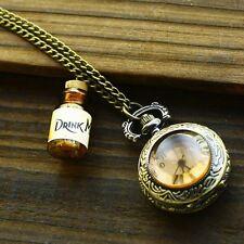 Retro Alice in Wonderland Cosplay DRINK ME Bottle Pendant Pocket Watch Necklace