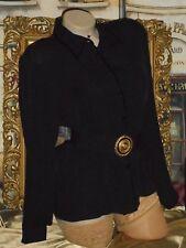 USA 8 Black Silk Blouse Velvet Point Collar JNY & Cotton Handkerchief