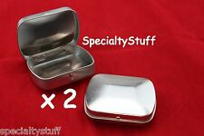 2 NEW BLANK EMPTY MINI CURVED TOP HINGED RECTANGULAR TIN CAN SURVIVAL CRAFTS 1oz