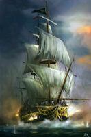CHENPAT1206 handmade paint big sea Warship  sail boat oil painting art on canvas