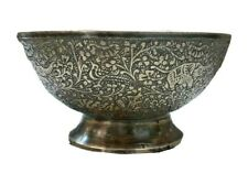 Old Brass Finely Engraved Persian-Style  Brass Drinking BowlBeautiful hunting