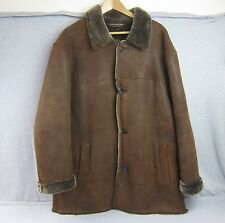 Men's Andrew Marc New York Lamb Shearling Brown Suede Leather Jacket Coat XXL