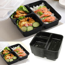 10pc Microwave 3 Compartment Plastic Lunch Box Food Storage Meal Prep Container