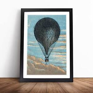 Hot Air Balloon Flying High Vintage Framed Picture Print Home Décor Wall Art