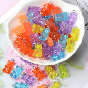 50X Design Resin Mixed Color Gummy Bear Pendant Charms For Making Jewelry DIY