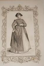 COSTUME FEMME DU BRABANT CESARE VECELLIO 1860 GRAVURE PRINT R946